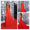 Rihanna Red Prom Dress Grammys 2017 Red Carpet Gown See Through Long Train Evening Dresses Celebrity Party