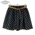 2017 Summer Style Women Tulle Skirt Casual Cute Mini Short Saias Flower Polka Dots Chiffon Vintage Pleated Skirts Girl LY164