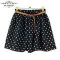 2017 mujeres del estilo del verano de tul falda de lunares flor de la gasa ocasional lindo mini saias cortos vintage faldas plisadas chica ly164