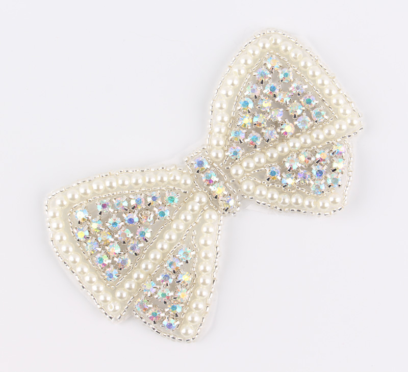 (2pcs lot)Bling Bows Shape Crystal Pearl AB Rhinestone Appliques Patch Hot  Fix Beaded Dress Belt Sash Hat Applique Patch-in Rhinestones from Home    Garden ... 7753631cac81