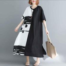Nefeilike Summer New Women Dress Plus Size Patchwork Black White Linen Button Female Vintage S Vestidos Oversized Long