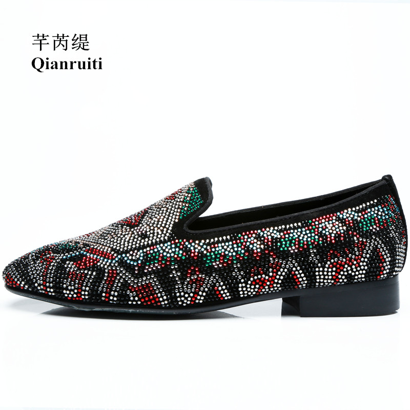 Qianruiti Men's Slip-on Loafers Mixed Color Rhinestone Shoes Crystal Prom Wedding Shoes Multi-color Strass Casual Shoes for Men
