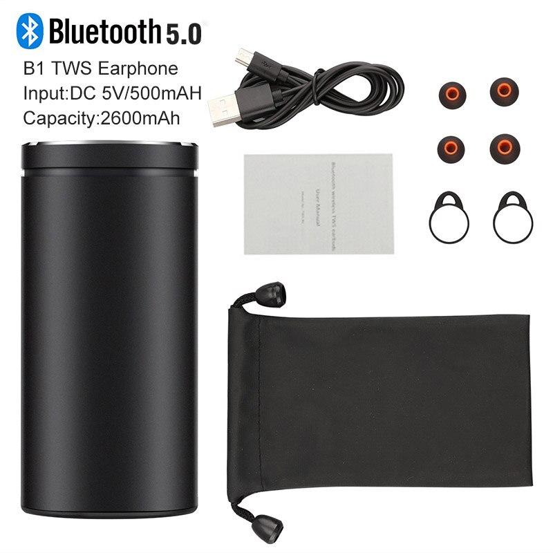 B1 TWS Earphone Bluetooth Headphones 2600mAh Metal Pull Charger Box Wireless Earphones Handsfree In Ear Earbuds PK i12 Headset in Bluetooth Earphones Headphones from Consumer Electronics
