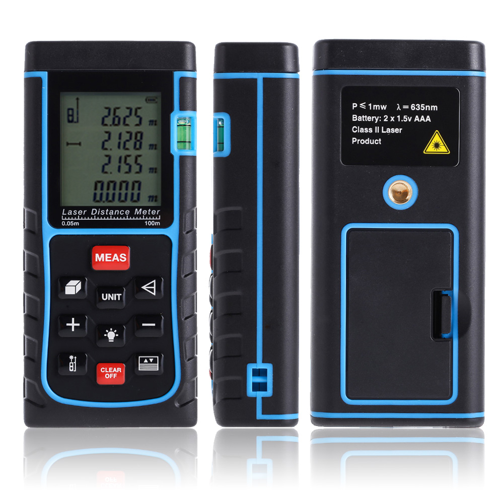 100m/328ft Range Digital Laser Distance Meter Laser Tape Range Finder Measurement Tool Area/Volume Diastimeter Tool laser range finder 40m 60m 80m 100m digital laser distance meter tape area volume angle engineer measure construction tools