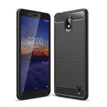 For Nokia 1 Plus Carbon Fiber Brushed TPU Case Shockproof Anti Scratch Back Cover