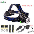 3000Lm 3-Modes CREE XML- T6 LED Headlamp Headlight Camping Fishing Light +2*18650 4000mah battery+Car charger+ EU/US charger