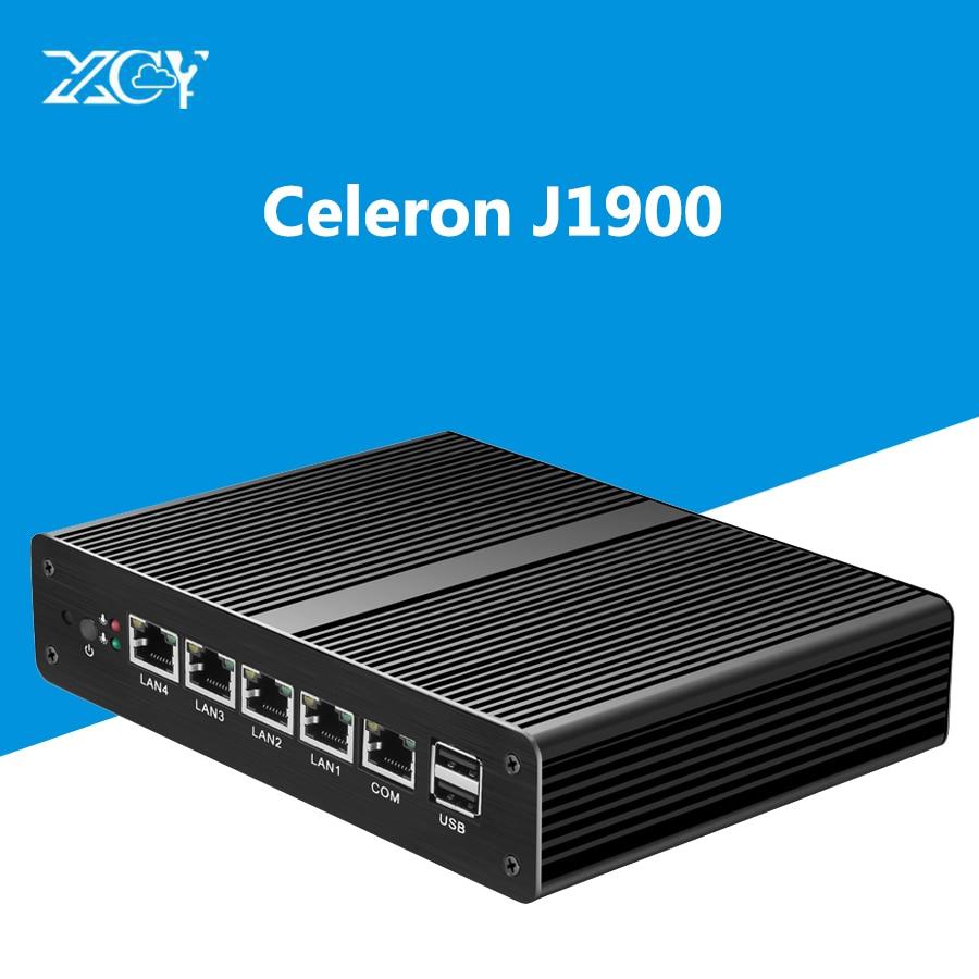 Industrial 4 LAN Mini PC Intel Celeron J1900 Gigabit Network Port 4GB RAM DDR3L 60G SSD Fanless Pfsense OS VGA Desktop Computer network routers with 6 intel pci e 1000m 82574l gigabit lan intel dual core i3 3220 3240 3 3ghz with mikrotik ros 2g ram 32g ssd