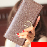 Hot High Quality Cowhide Leather Long Wallet Women Fashion Luxury Brand Design D Hasp Wallets Coin Purse License Cover Money Bag