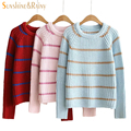 autumn women fashion winter stripe sweater long sleeve o-neck pullovers 3 hit color loose cashmere short  knitwear warm tops