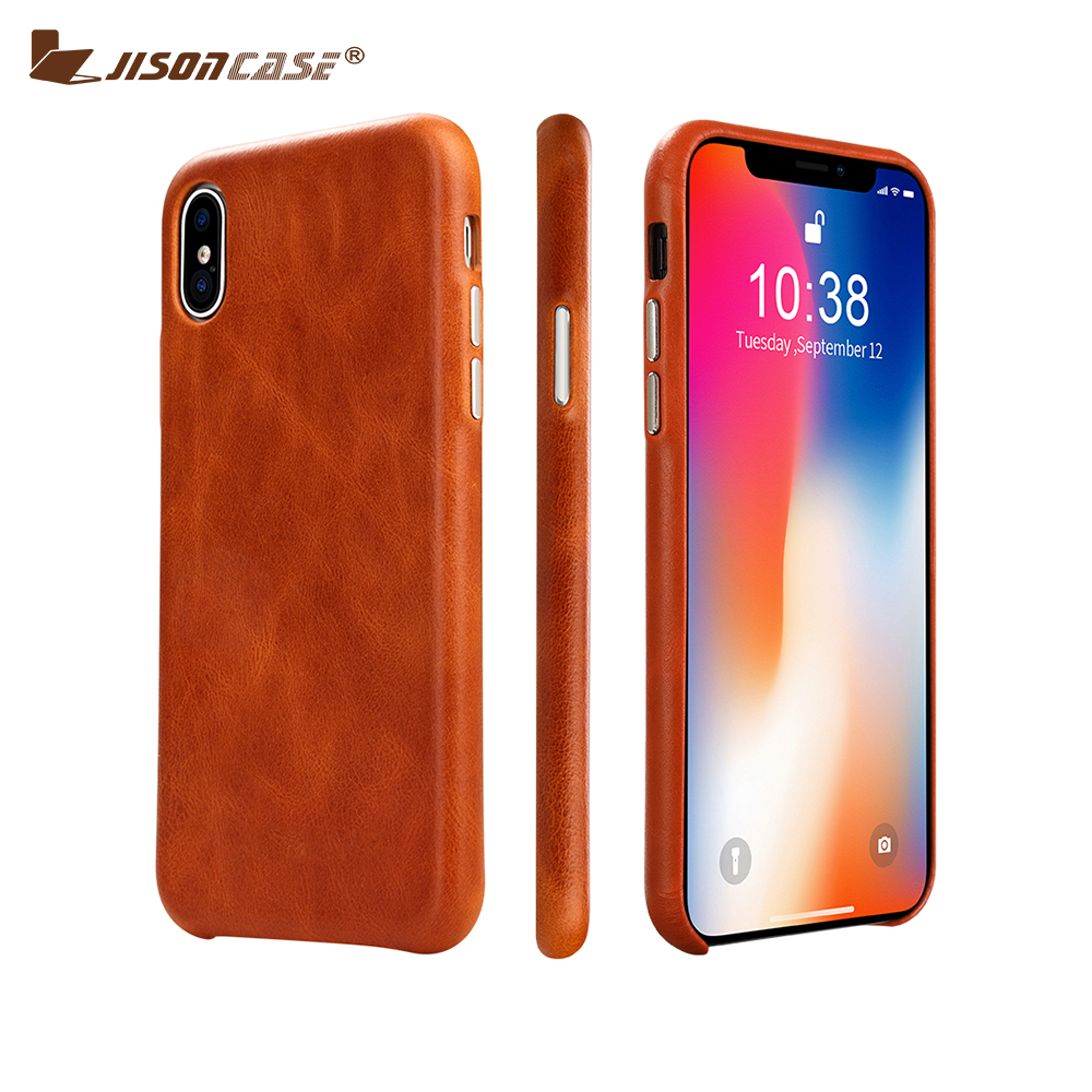 Jisoncase Leather Case for iPhone X Case Cover Genuine Leather Luxury Brand Slim Anti-knock Back Cover for iPhone X 10 Capa