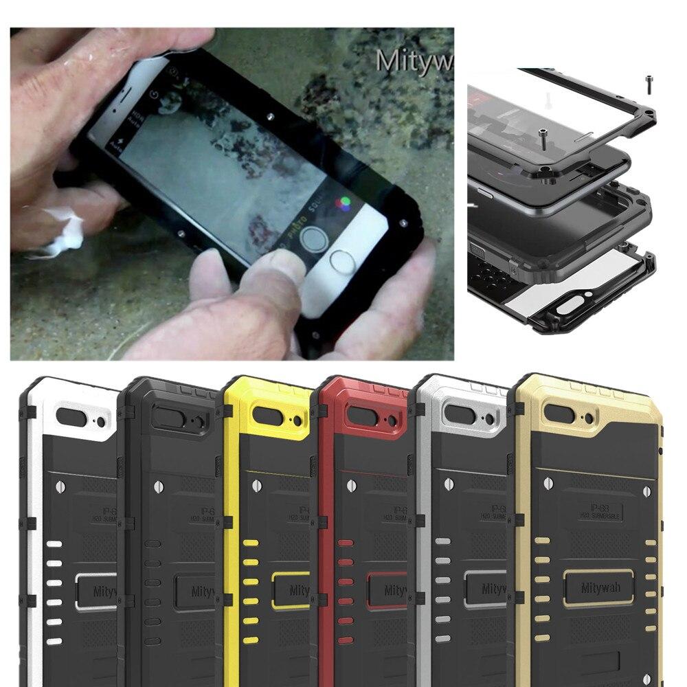 imágenes para IP68 100% Impermeable de Aluminio del Metal Armor Caso Duro Para el iphone 7 Cubierta A Prueba de Golpes Casos Bajo El Agua 3 M Buceo