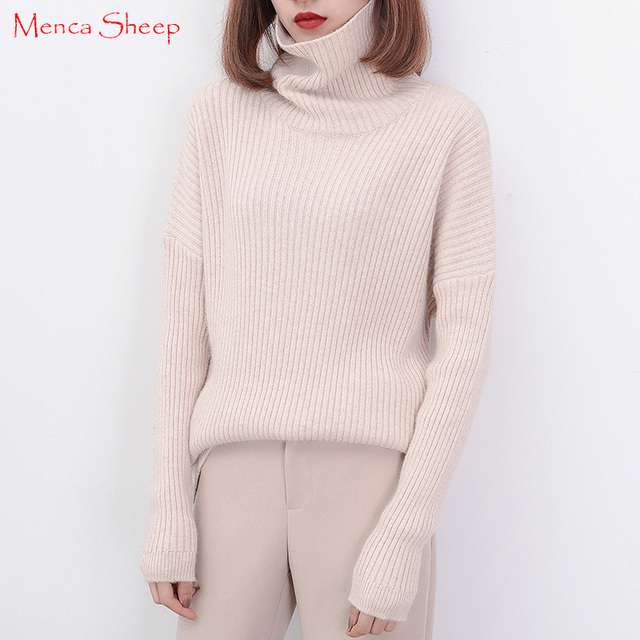 875ac26a522 Hot Sale Big-neck Sweaters Women Pullover 100% Cashmere and Wool Knitwear  Winter Warm Turtleneck Sweater Ladies Woolen Clothes