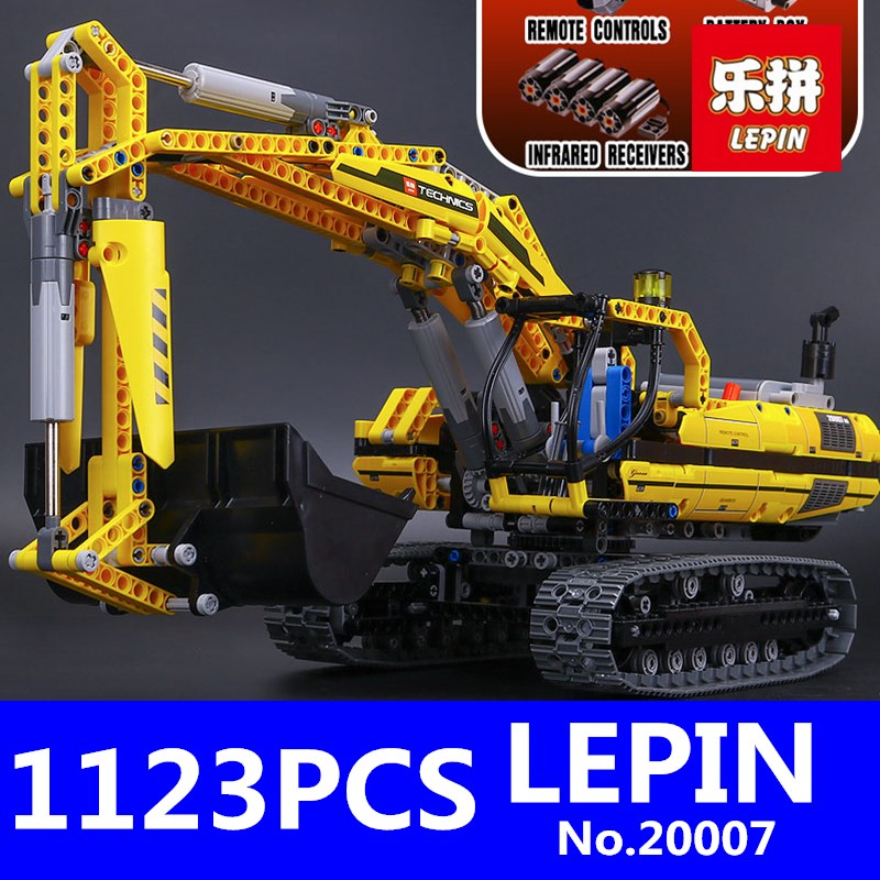 LEPIN 20007 1123pcs Technic Series Excavator Model Building Kit Blocks Brick Compatible Toys for Children Christmas Gift 8043 lepin 20031 technic the jet racing aircraft 42066 building blocks model toys for children compatible with lego gift set kids