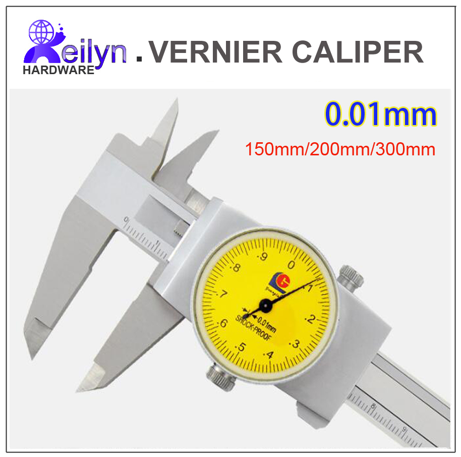 Stainless steel Vernier caliper with dial 150mm/200mm/300mm precision 0.01mm  diameter depth thickness measuring instrument authentic constant vernier caliper 0 100 mm diameter diameter silver dollar jade depth measurement accuracy of 0 02
