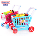 New Arrival children play house simulation supermarket shopping cart toy baby tuba trolley containing fruits and vegetables