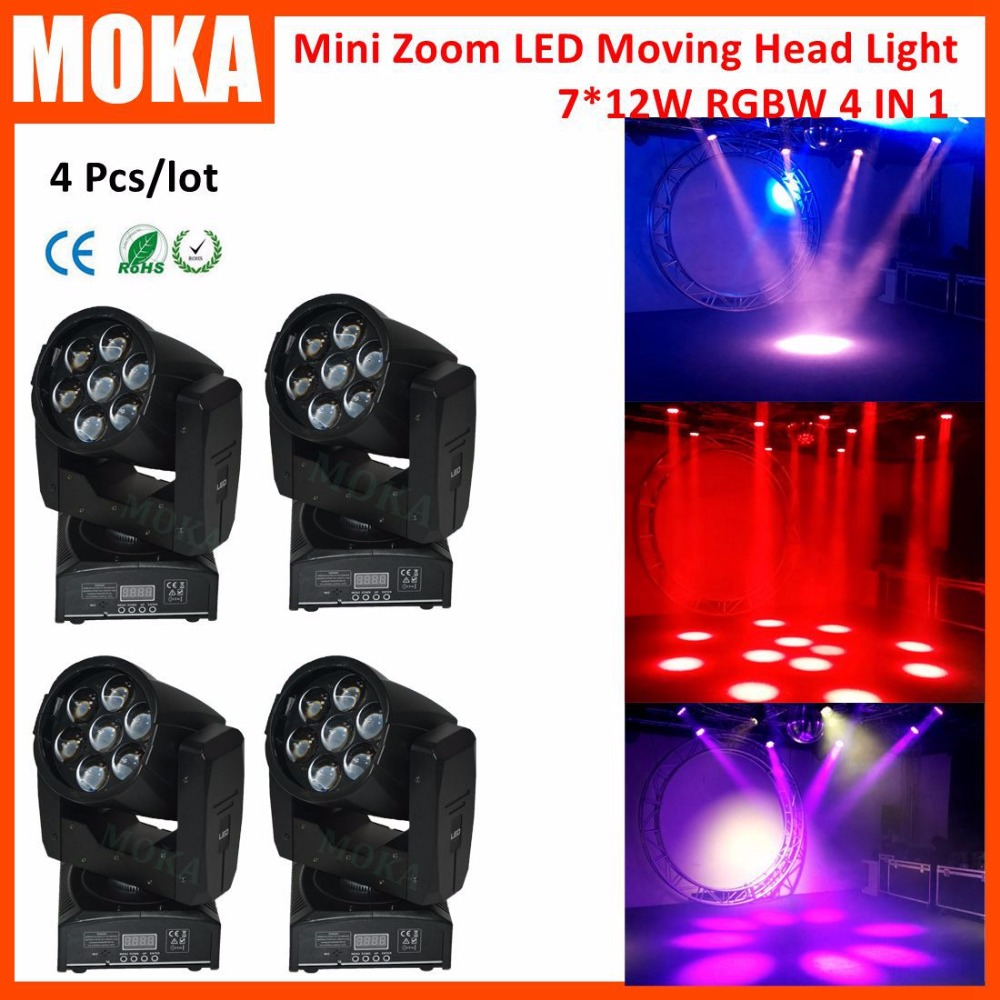 4pcs/lot Christmas High Power Mini 7*12w Led Moving head ZOOM Light AC100-240V 50/60 Hz Light Projector