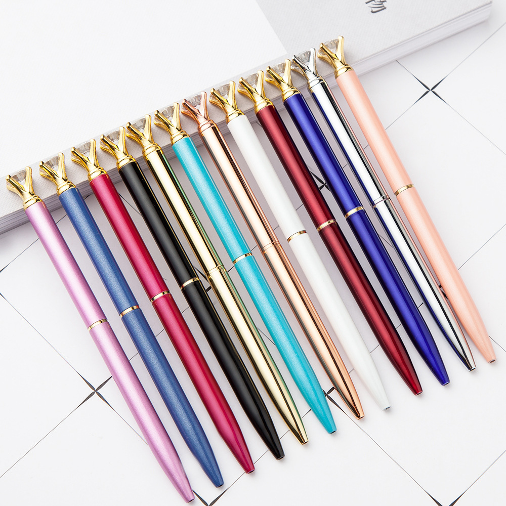 Diamond Head Crystal Ball Pen Office Ballpoint Pen Creative Pen Stationery Gift