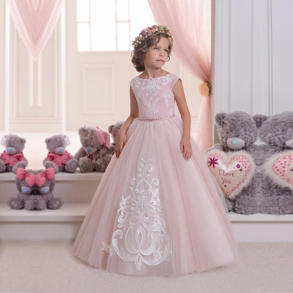 все цены на Fancy little girls dresses applique floor length party dresses for girls pink kids ball gowns girls mesh flower dress