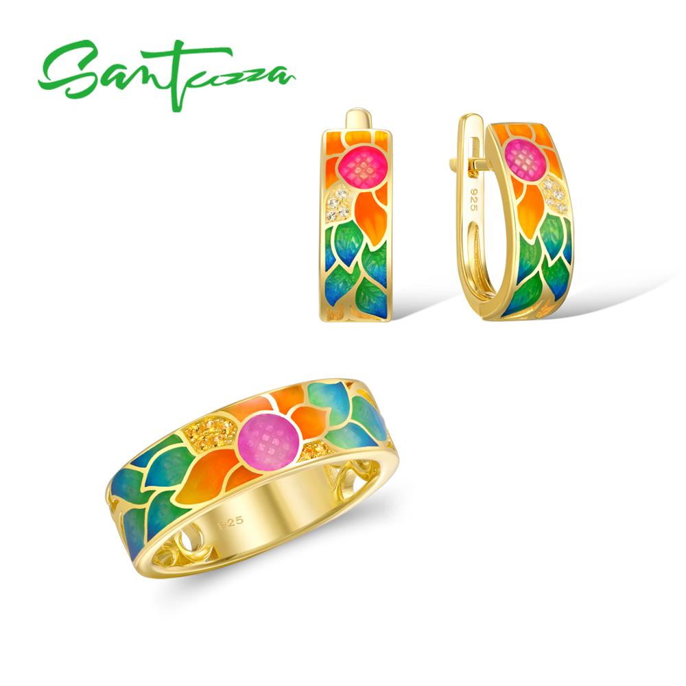 SANTUZZA Silver Jewelry Set For Woman Enamel Flower Ring Earrings Set 925 Sterling Silver Charming Fashion