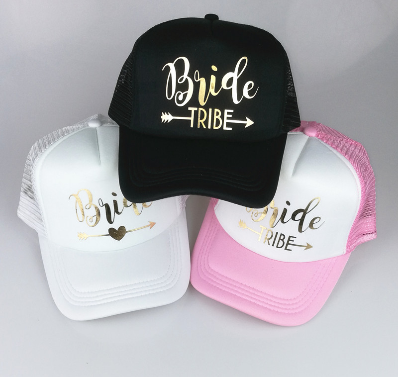 Dropwow C Fung BRIDE TRIBE trucker hats Bachelorette Snapback Cap Team Bride  Neon gold letter Arrow design mesh baseball hat caps 6c276eca97e0