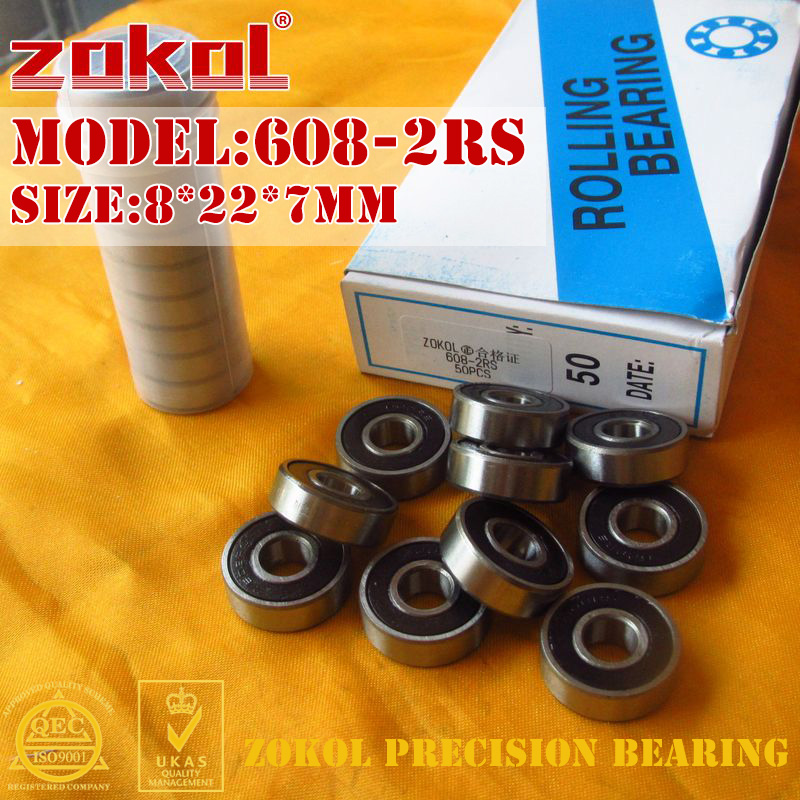 ZOKOL 608-2RS bearing 608 2RS Miniature  Deep Groove ball 608rs bearing 8*22*7mm zokol 6314 2rs bearing 6314 2rs 180314 deep groove ball bearing 70 150 35mm