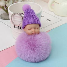 Hot Rabbit Fur Sleep Of The Lovely Baby Shape Plush Dolls Key Chain For Women Handbags Accessories Simulation Cartoon Ring