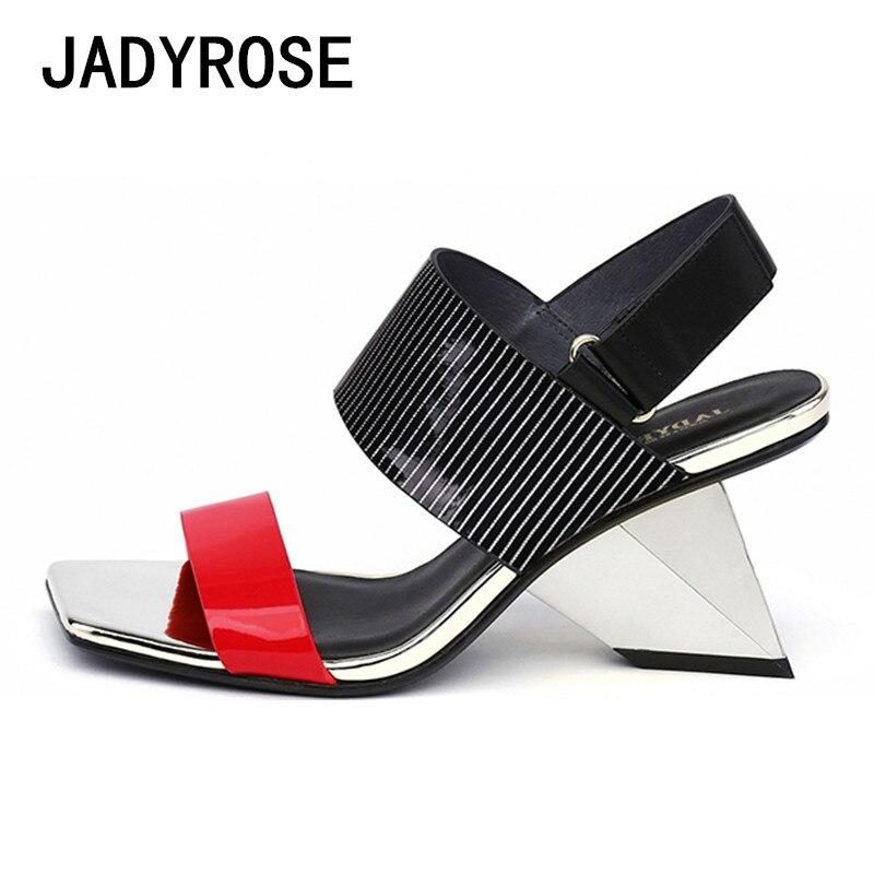Dames Eté Sandalias rouge Wedge Design blanc Femme Stiletto Gladiateur Étrange Talon Sandales Valentine Noir Femmes Sexy Chaussures ZOTOxqzXw