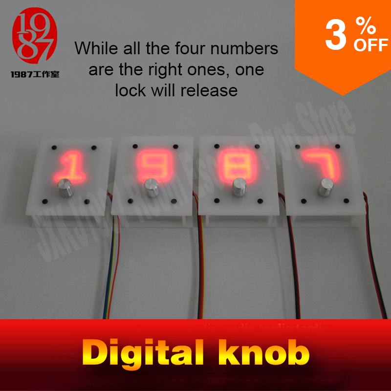 Escape room takagism game prop 4 digital knobs rotated to right numbers to unlock with audio jxkj1987 chamber room escape props