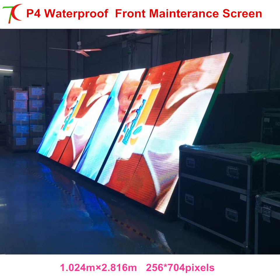 Front Mainterance Customizable P4 Outdoor Waterproof Metal Equipment Cabinet Display For Led Video Wall Advertisement Screen