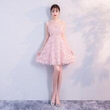 Pink Colour Tassel Mini Dress  Bridemaid Dress  Women Wedding Party Dress Elegant 2019 Back of Zipper bridemaid dress pink color mini dress women wedding party dress