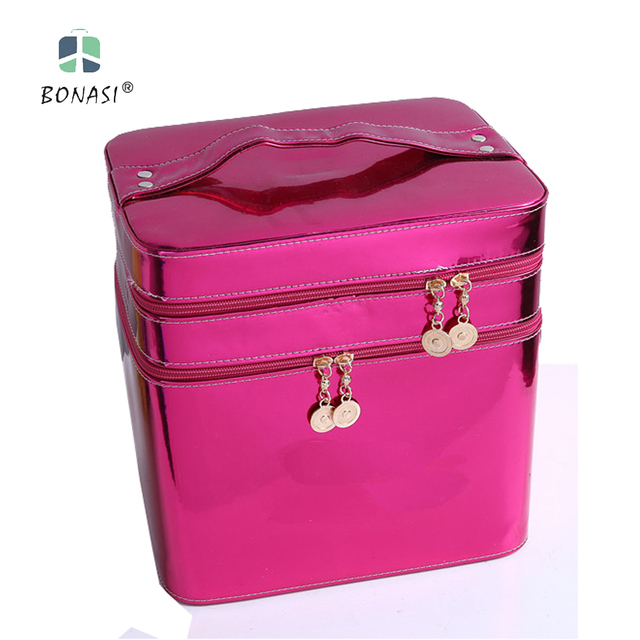 2017 New Best Sales Professional Shiny PU Cosmetic Case Make up Case Cosmetic Bag with 4  Colors