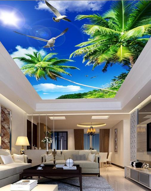 3d Papier Peint Paysage Plafonds Bleu Ciel Paume Soleil Plafond 3d