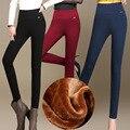 Женщины Зима раздел плюс бархат утолщение Леггинсы женский верхней одежды высокой талии упругие ноги брюки теплые дикие тонкий брюки S2821