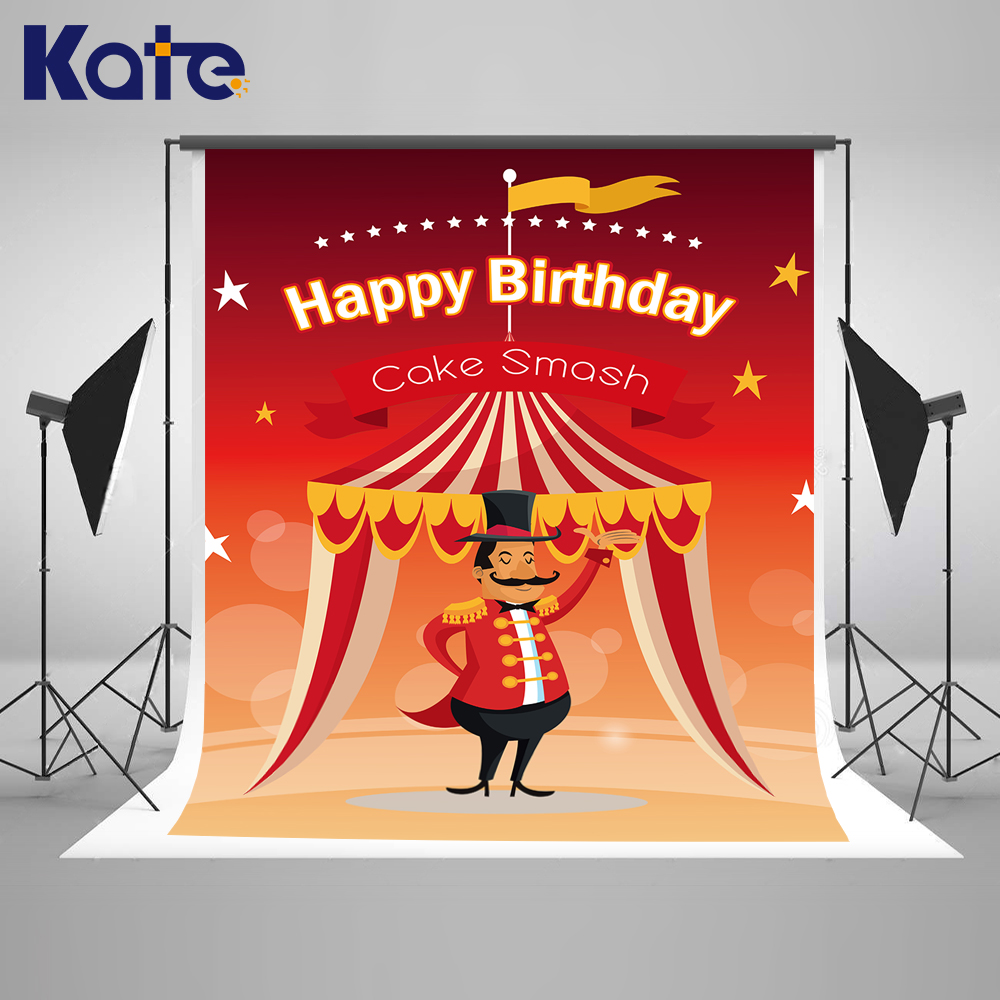 KATE Photography Backdrops 10X10Ft Circus Backdrop Cartoon Birthday Background Pastel Red Background Children Birthday Photos сумка kate spade new york wkru2816 kate spade hanna