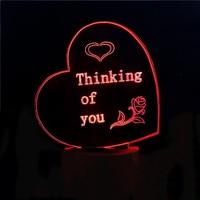 3D Trái Tim Lãng Mạn Shape Desk Lamp Led 7 Color Changing Bầu Không Khí Sáng Tạo Ánh Sáng Ban Đêm Trang Trí Nội Thất Cung Cấp Cho Bạn Gái Valentine Quà Tặng