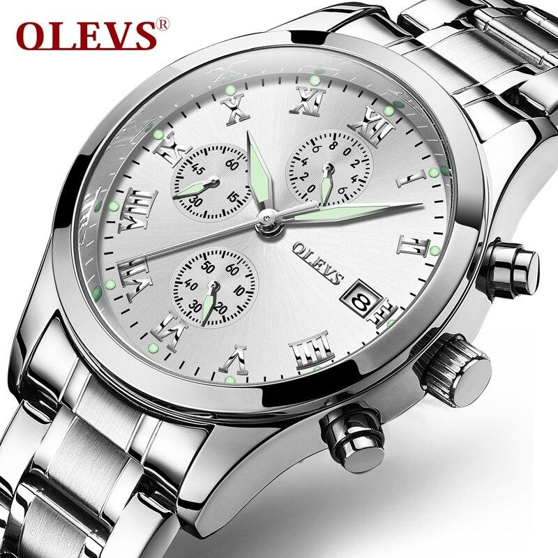 OLEVS Stop Sporty Watches For Man Climbing Sub Dial Quartz Male Clock Bracelet Strap Chronograph Wristwatches