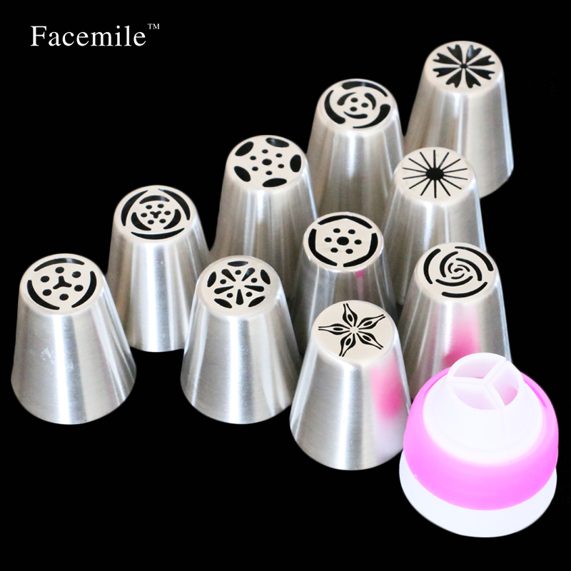 11PCS Stainless Steel Nozzles Russian Tip Pastry Tools Icing Piping Nozzles Gift Decorating Tools Fondant Confectionery 53033