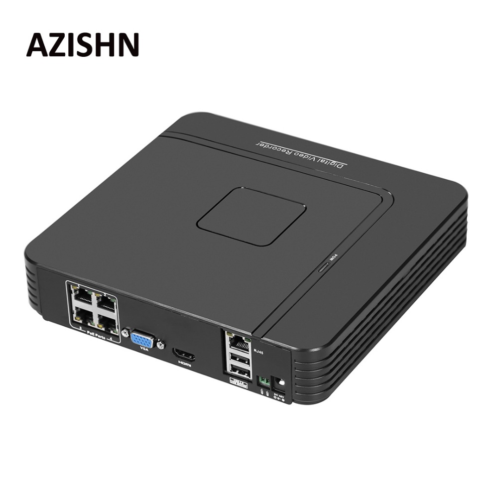 AZISHN Surveillance Full HD H.264 4CH NVR 48V POE 1080P HDMI ONVIF P2P Network Video Recorder CCTV System Motion Detect Alarm h 265 h 264 4ch 8ch 48v poe ip camera nvr security surveillance cctv system p2p onvif 4 5mp 4 4mp hd network video recorder