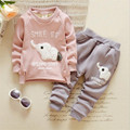 fashion baby clothing casual sets cute cartoon animal pattern long sleeve t-shirt and pants for autumn and winter thick clothing