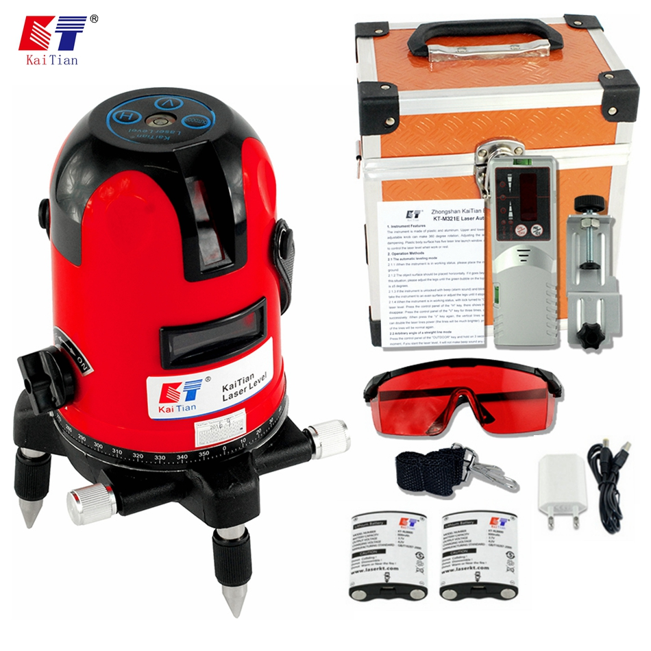 KaiTian Laser Level Receiver 2 Lines 2 Points Self Leveling 360 Rotary Horizontal 635nm Vertical Livella