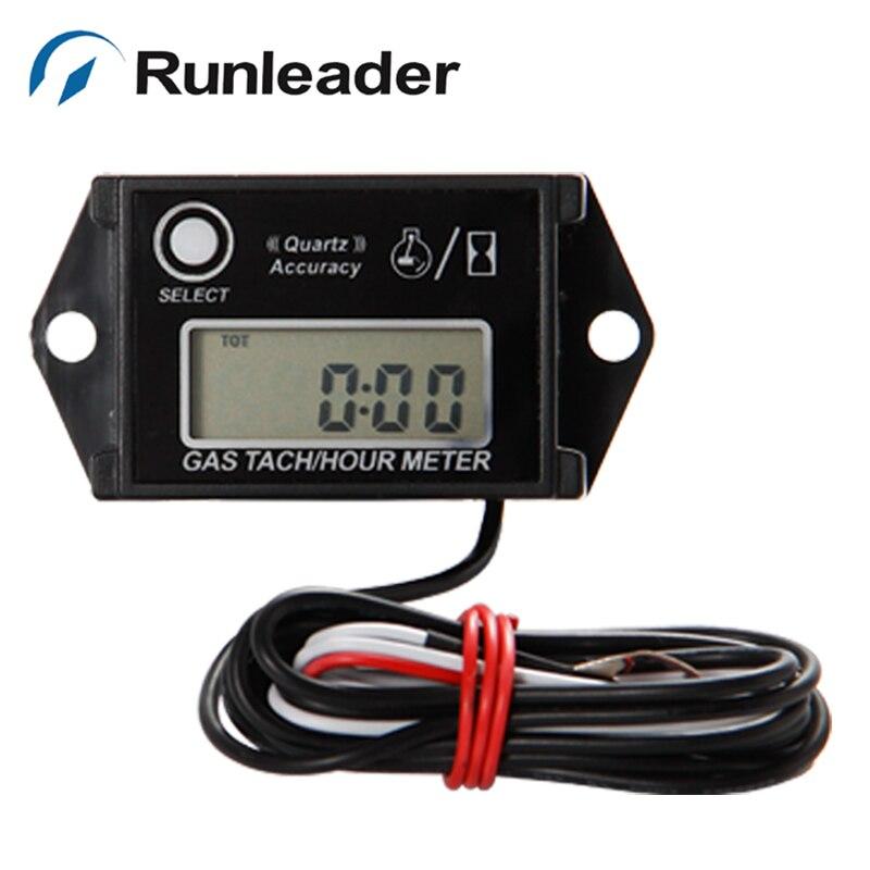 10pcs lot Runleader HM026 Digital Waterproof Inductive Gasoline Engine Tach Hour Meter Tachometer for chainsaw