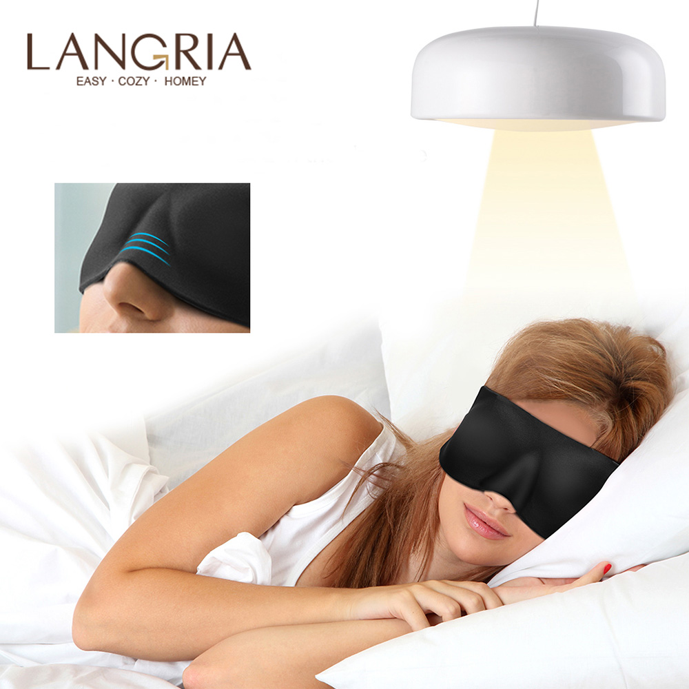 10pcs LANGRIA 3D No Pressure Eye Mask for Sleep with Breathable Memory Foam with Adjustable Straps
