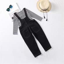 2019 Autumn Children Clothes Set Girls Striped Long-Sleeved T-Shirt +Denim Bib Pants Overalls Two-Piece Girls Kids Clothing Suit недорого