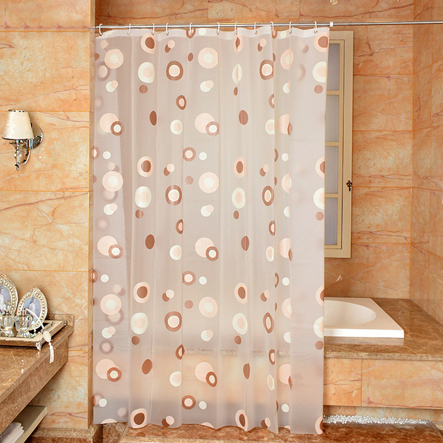 Homing Colored Circle Polyester Pattern Bathroom Accessories Translucent Shower Curtain Waterproof Mildew Bath
