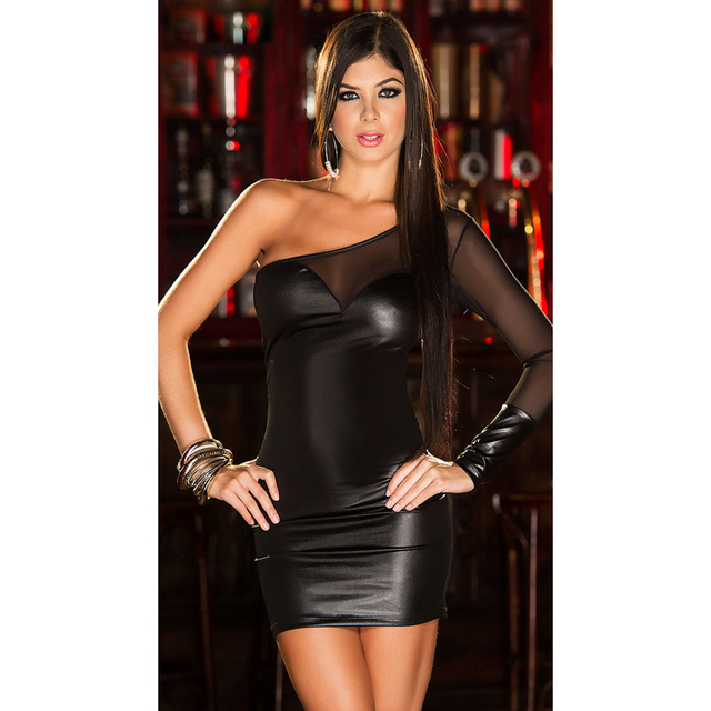 dress - Hot women Sexy Lingerie Imitation Leather Dresses Exotic Apparel Single  shoulder Clubwear Dress Porn Underwear Sexual