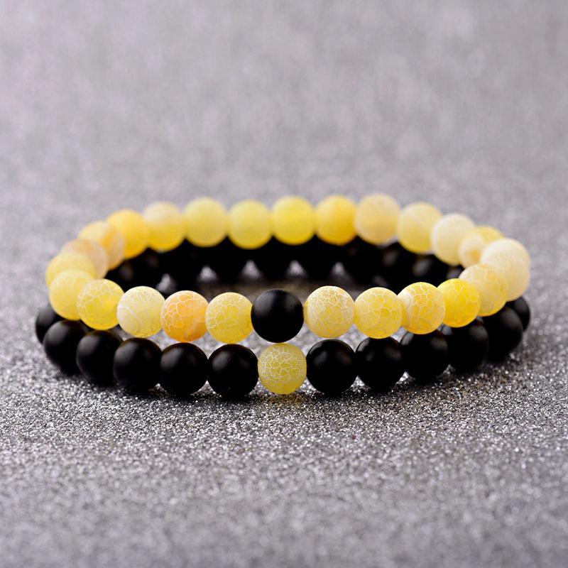 DOUVEI 2019 Womens Yellow Weathered Onyx Stone Beaded Couple Bracelet Elastic Distance Lover Men Bileklik Pulseras
