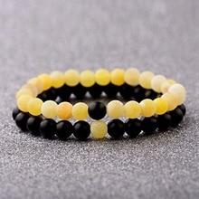 DOUVEI 2019 Womens Yellow Weathered Onyx Stone Beaded Couple Bracelet Elastic Distance Lover Men Bileklik Pulseras