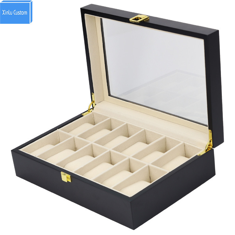 Elegant Luxury 12 Pieces Flat lacquer Wooden Watch Box Display Case Collection Jewelry Box Storage Custom Box lOGO Factory DS watchcase storage luxury 22 slots 2 layer wood glossy lacquer watch box jewelry collection display drop shipping supply