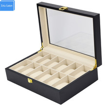 Elegant Luxury 12 Pieces Flat lacquer Wooden Watch Box Display Case Collection Jewelry Box Storage Custom Box lOGO Factory DS