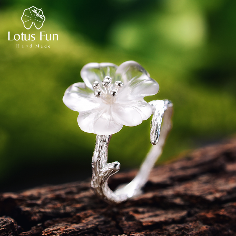 Lotus Fun Real 925 Sterling Silver Natural Gemstones Fine Jewelry Cute Flower In The Rain Ring Open Rings For Women Accessories